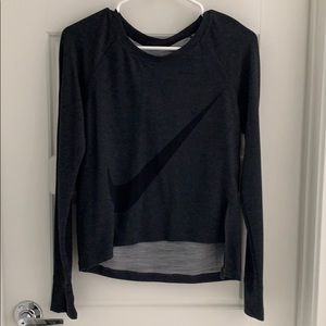 Nike Long Sleeve Charcoal Crop Top - Size S